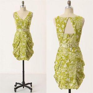 {Anthro} Leifsdottie Gilded Garden Silk Dress